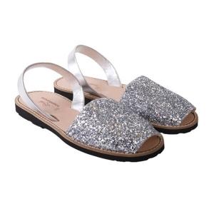Minorquines Latelierdal Look summer sandales-femmes-paillettes-argent
