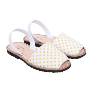 Minorquines Latelierdal Look summer sandales-femmes-pois-jaunes