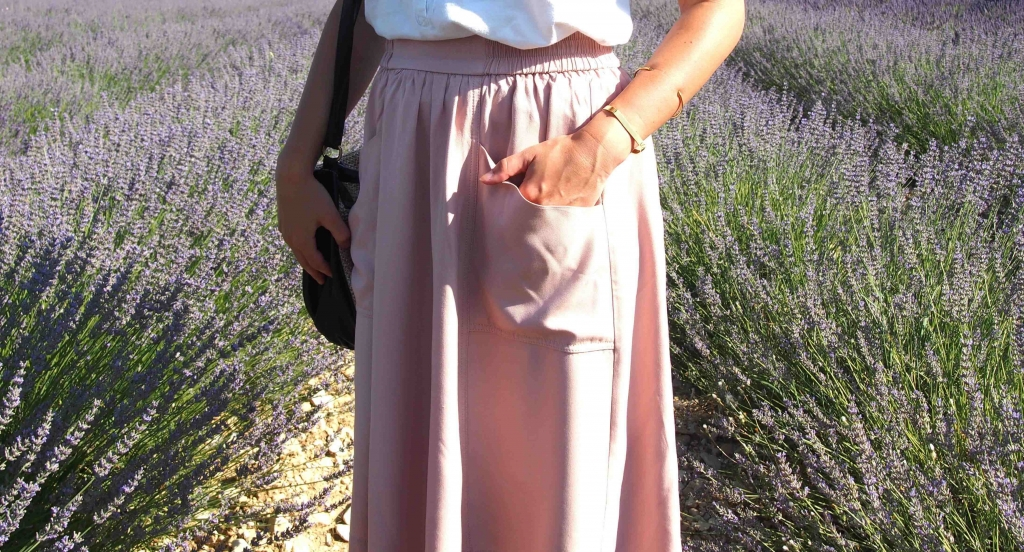 look jupe midi lavande latelierdal blog mode