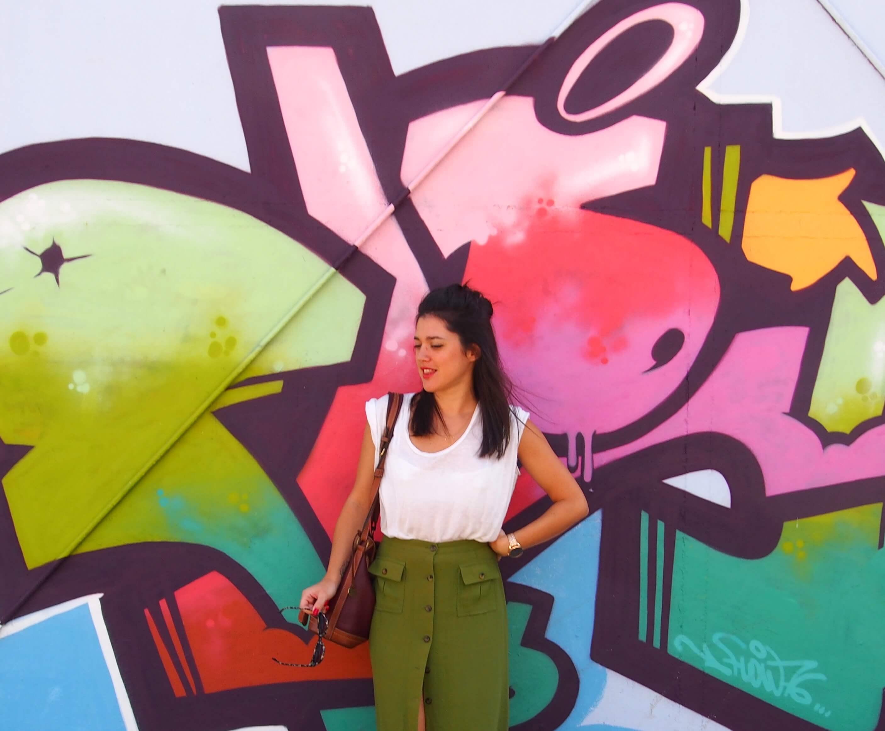 Look jupe kakie vintage Latelierdal blog mode et voyage