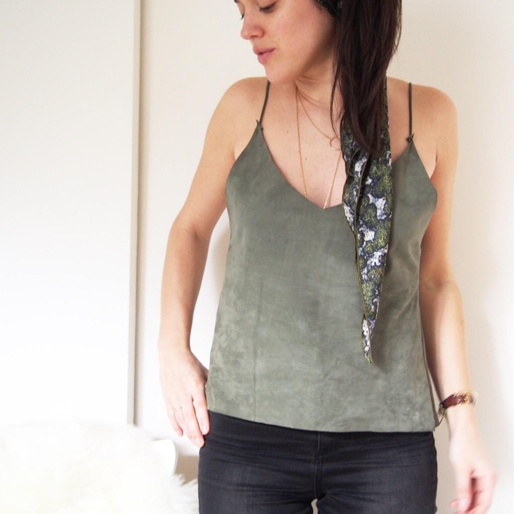 DIY tuto top en cuir sans machine à coudre L'atelier d'al blog mode lifestyle Paris