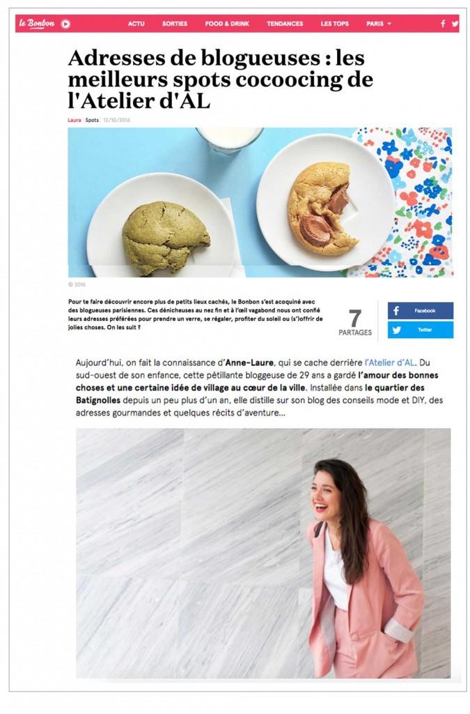 article presse le-bonbon l'atelier d'al blog mode lifestyle Paris bonnes adresses batignolles