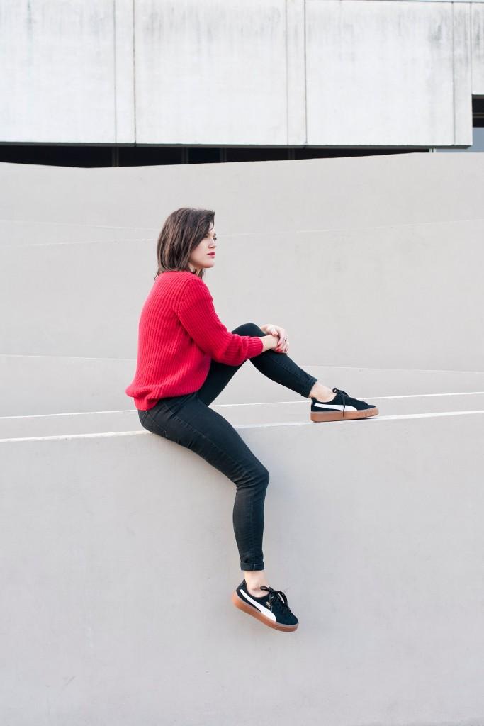 look automne hiver pull rouge l'atelier d'al blog mode Paris Lifestyle