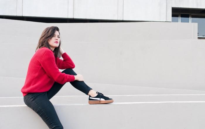 look automne hiver pull rouge Balzac l'atelier d'al blog mode Paris Lifestyle