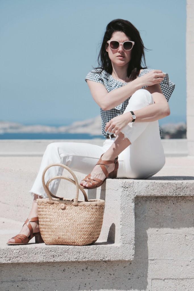 spring look vichy Marseille L'atelier d'al blog mode lifetsyle Paris boyfriend blanc panier osier