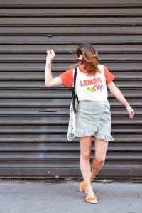 Look tee-shirt ans vichy skirt L'atelier d'al blog mode lifestyle Paris