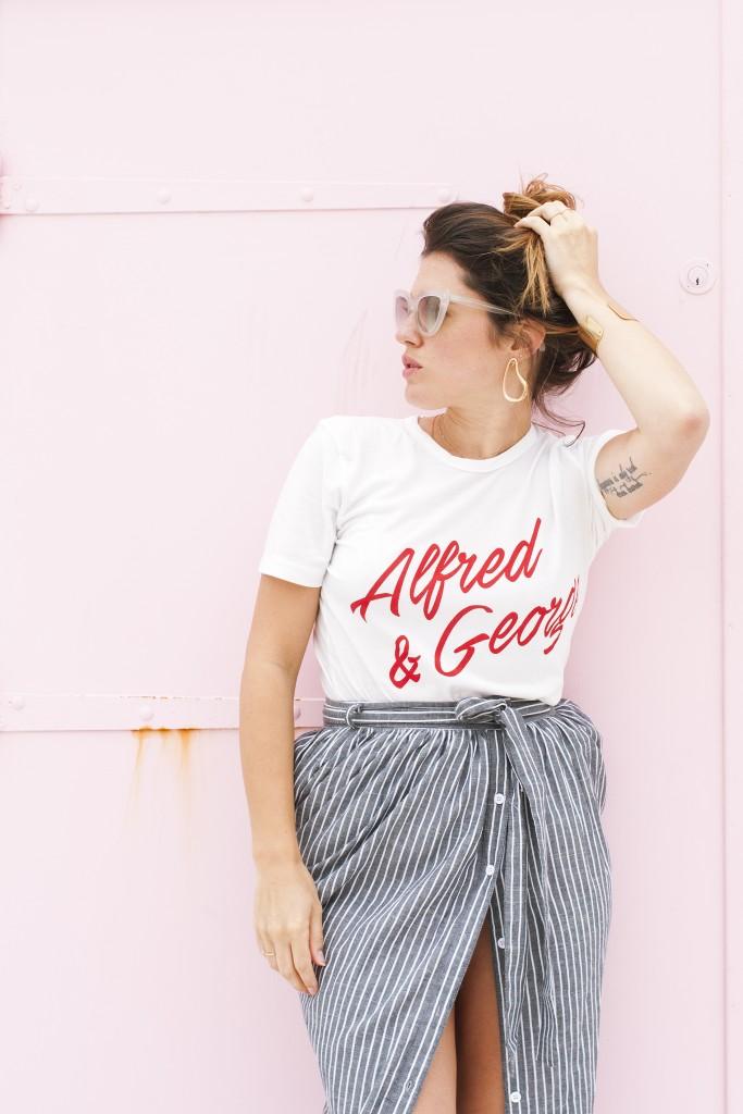 Look jupe longue rayée Shein tee-shirt Balzac Paris Le Havre L'atelier d'al blog mode lifestyle