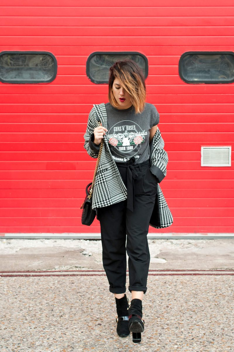 look t-shirt rock veste jacquard L'atelier d'al blog mode lifestyle Paris