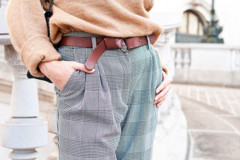 look H&m pantalon prince de Galles taille Haute pull camel escarpins Boden L'atelier d'al blog mode Paris lifestyle DIY