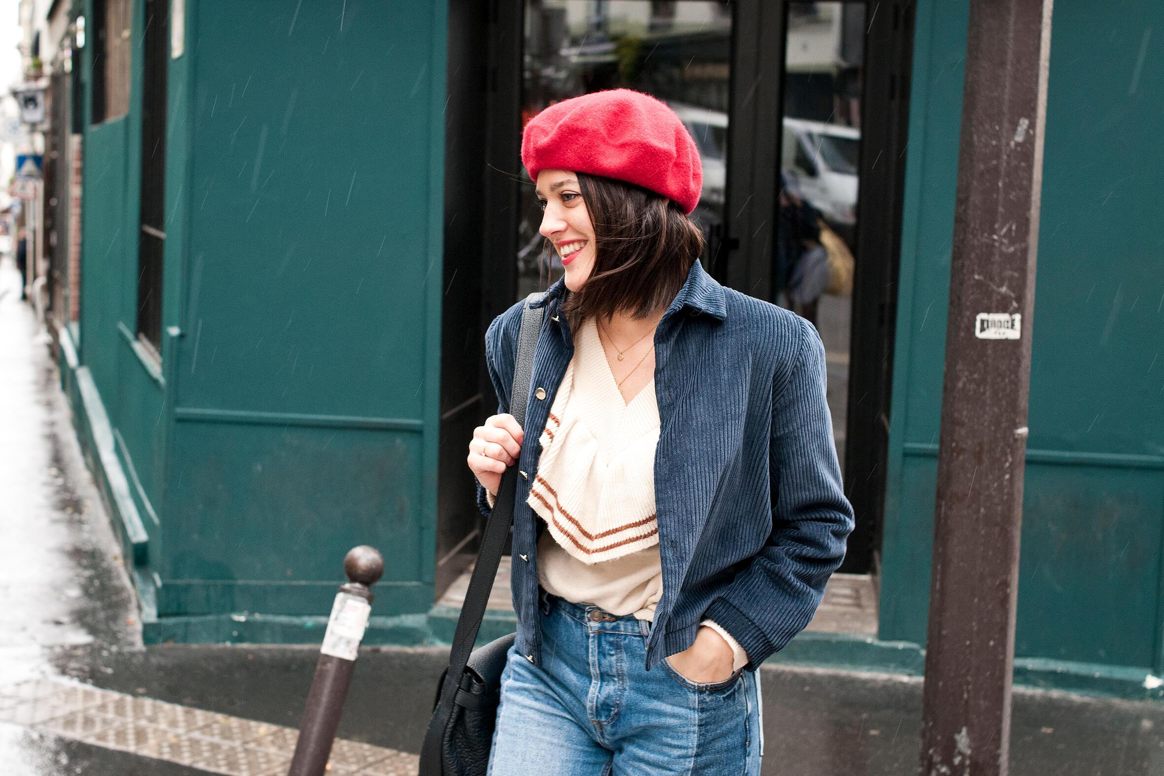 Look street style Paris beret rouge L atelier d al blog mode lifetsyle a66e94f2ee9