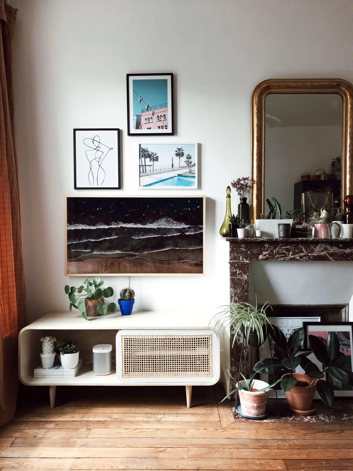 appartement paris Télé The Frame Samsung Meuble en cannage Décoration Paris L'atelier d'al blog mode lifestyle
