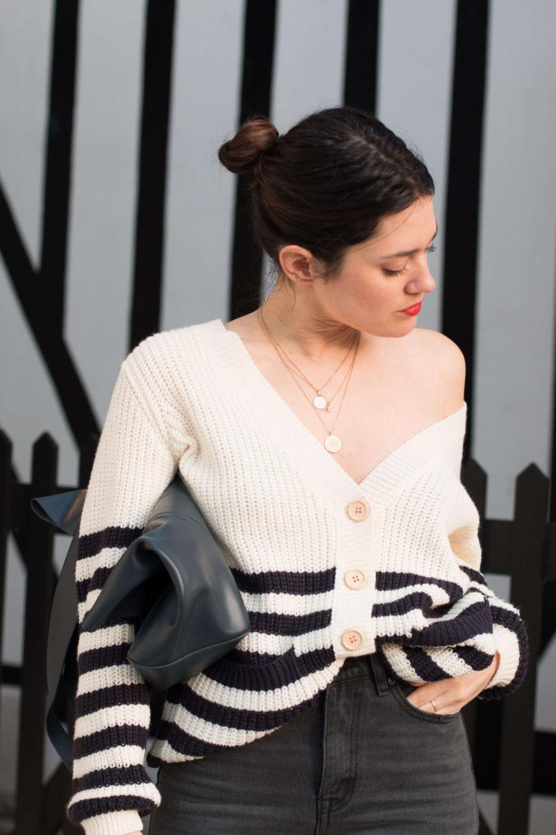 Gilet à rayures mom jean noir look Deauville L'atelier d'al blog mode lifestyle Paris