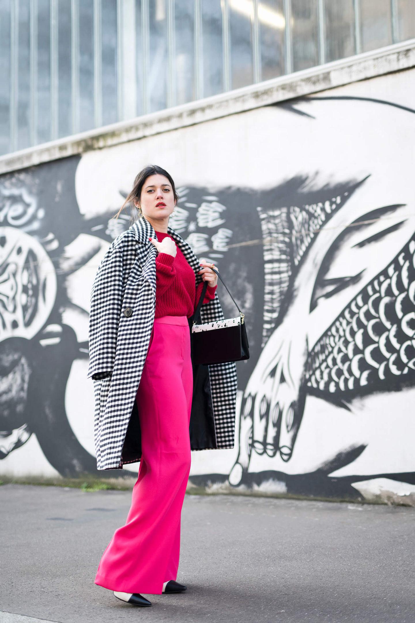 Pantalon taille haute rose Boden Manteau Vichy L'atelier d'al Blog lifestyle mode Paris