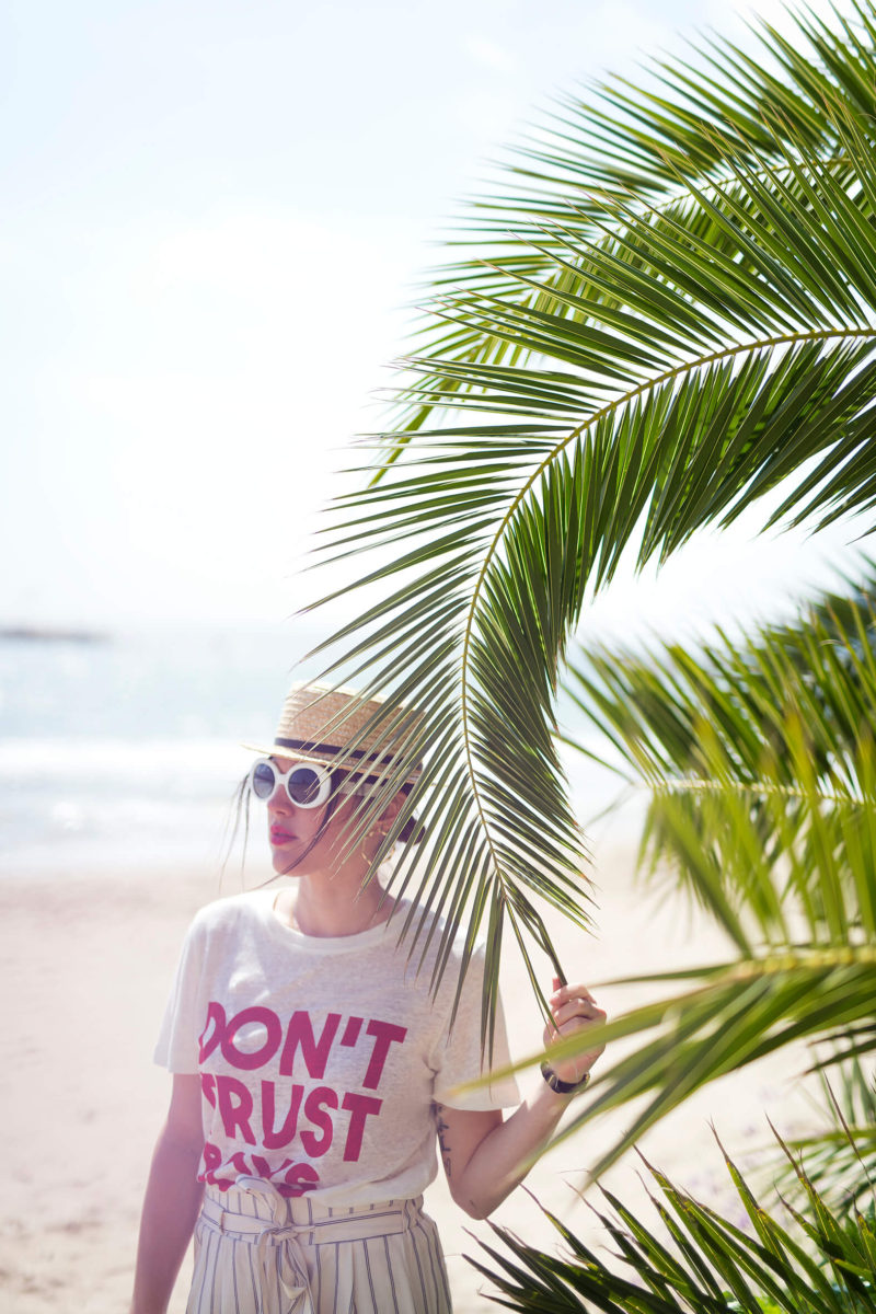 tee-shirt Claudie Pierlot Chapeau de paille pantalon en toile L'atelier d'al blog mode lifestyle Fashion