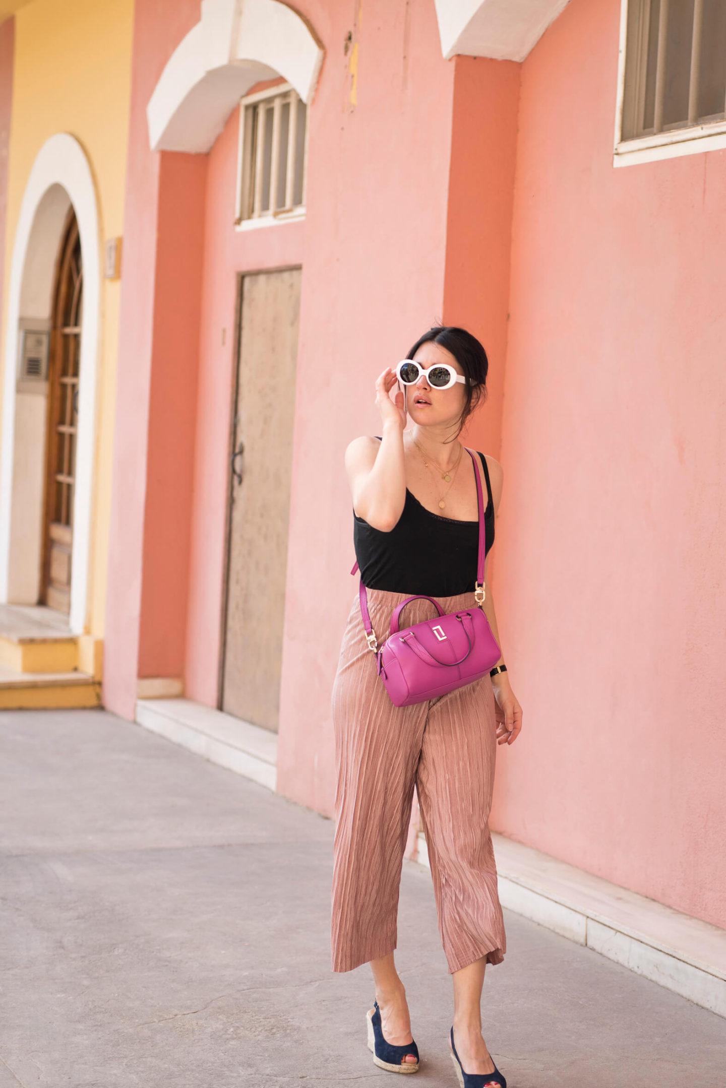 Jupe culotte rose look de printemps L'atelier d'al blog mode lifestyle Paris
