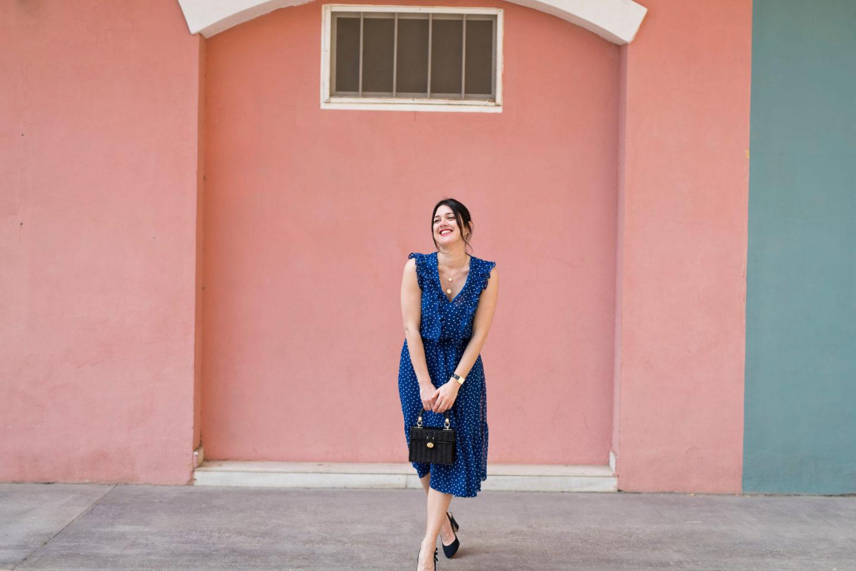 robe bleu à pois Boden look dolce vita l'atelier d'al blog mode lifestyle Paris fashion