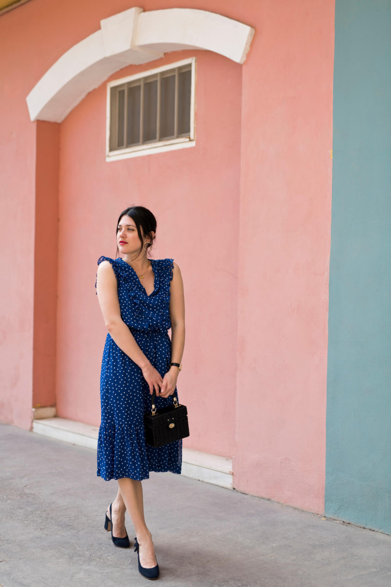 robe bleu à pois Boden look dolce vita l'atelier d'al blog mode lifestyle Paris fashion
