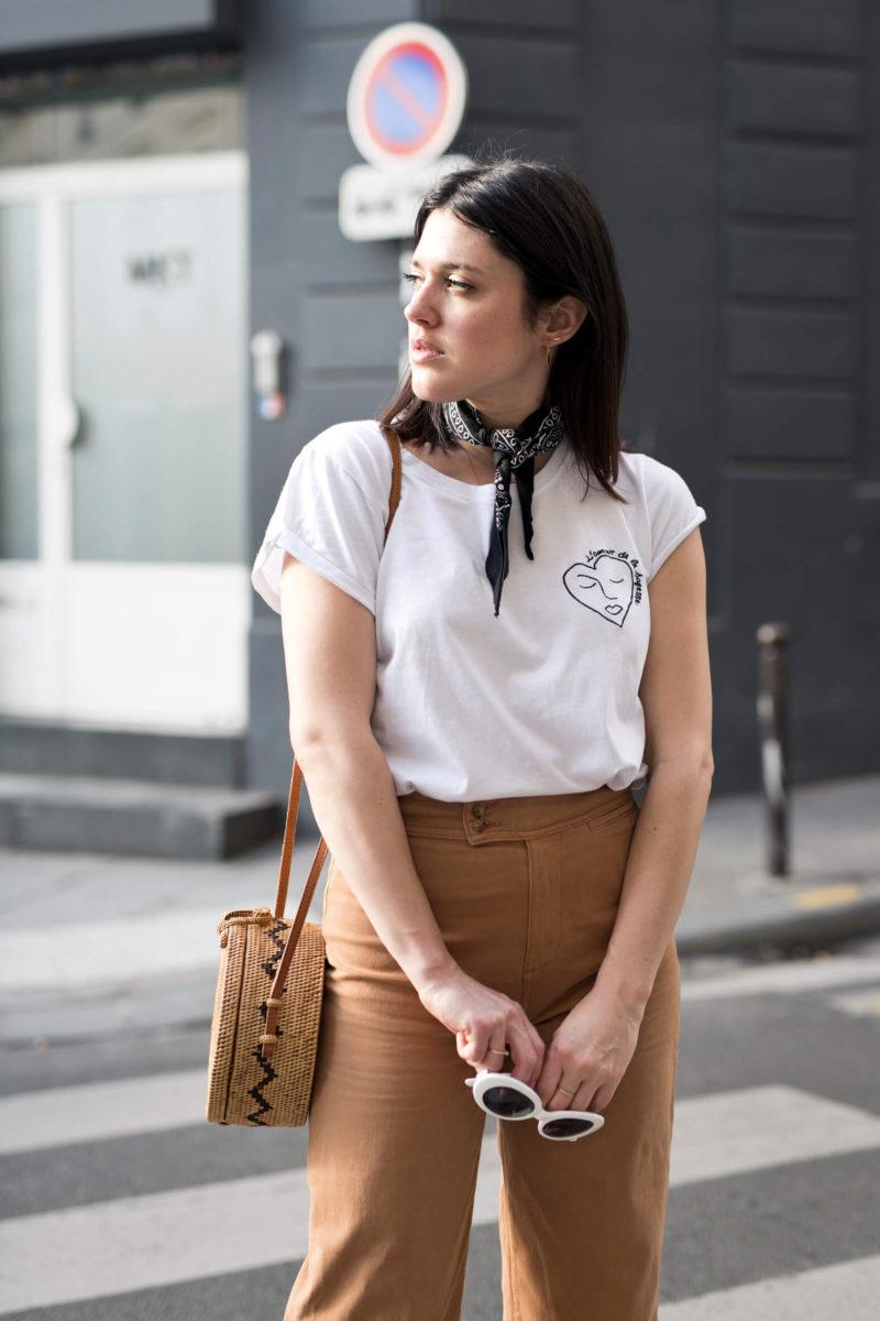 Look pantalon Sézane 7/8 ocre veste en cuir MKT Studio L'atelier d'al blog mode lifestyle Paris