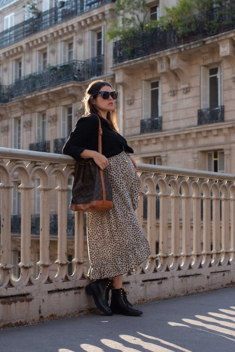 Look jupe léopard femme enceinte grossesse L'atelier d'al blog mode lifestyle streetstyle Paris