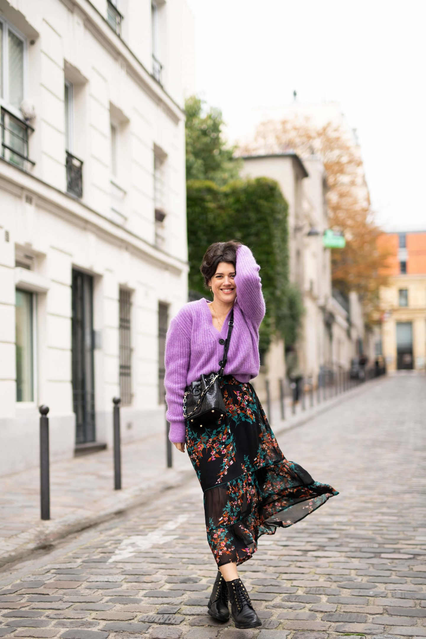 3 ways to wear Trois façons de porter le pull gilet violet lilas Anne-Laure L'atelier d'al latelierdal blog mode fashion lifestyle